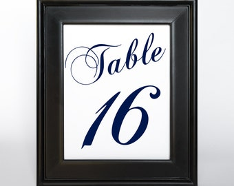 Printable Table Number Cards 5x7 DIY Wedding Decor Instant Download Set 40 Reception Sign Bridal Shower Casual Elegance Navy