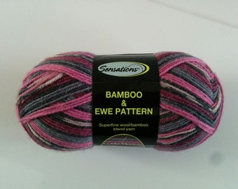 one 60 gram skein Bamboo & Ewe pattern sock yarn in Pink/Red pattern colorway