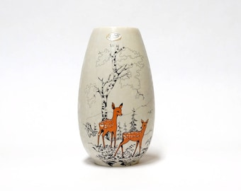 West Germany Pottery Vase, JASBA 101/22 , Deer Decor, Vintage West German Ceramic Vase, Mid Century Modern Home Decor
