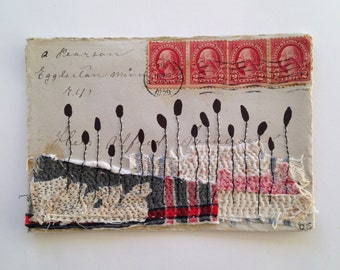 Original Mixed Media Collage - Envelope with textile - red stamps