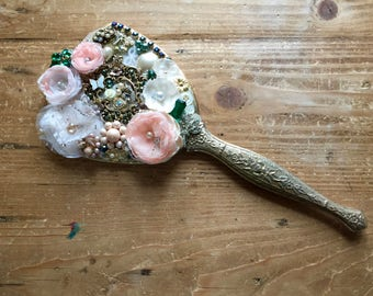 Hand held mirror, embellished hand mirror, mosaic jewel,home decor,vanity, guest bedroom, shabby chic, french, vintage collage,FREE SHIPPING