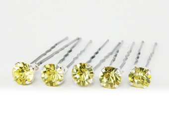 Jonquil Yellow Rhinestone Hair Pins - Yellow Crystal Hair Pins, Yellow Wedding Hair Pins, Yellow Bobby Pins - 7mm/5 qty - FLAT RATE SHIPPING
