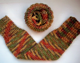 Chunky warm leg warmers multi random green brown yellow orange wool mix