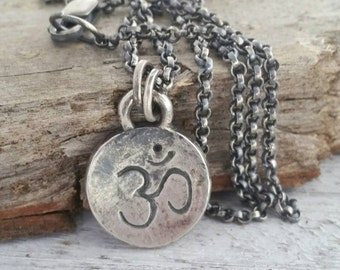 OM Necklace, OHM Pendant, Rustic Sterling Silver OM Yoga Jewelry. Custom personalized engraved charm. Unisex.