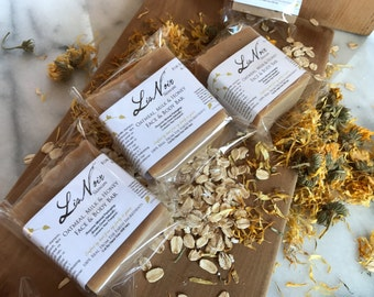 Oatmeal, Milk, and Honey Soap For Face No Fragrance All Natural Gentle Cold Process