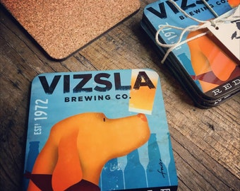 Set of 4 VIZSLA brewing company dog beer coasters with cork backing
