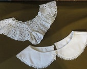 Vintage 50s 1950s Collar 40s 1940s Eyelet Lace Collars Lot of 2 Peter Pan Dress Sweater Rockabilly Preppy Prim