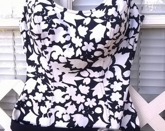 Penney's Mod Swimsuit, One Piece. Black and White , Nylon Knit Print, 60s Cute, bust 36, Vintage 14