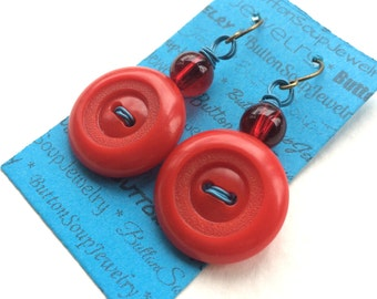 Bright Red Vintage Button Earrings with Blue
