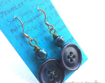 Button Jewelry Blue Vintage Button Earrings with Green