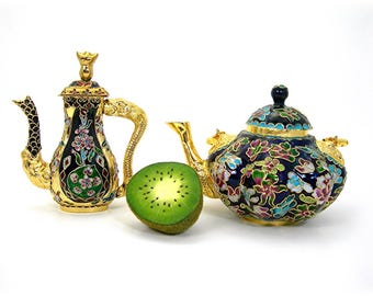 Chinese Cloisonne Teapots, Two Small 5 Inch Decorative Collectibles, Vintage 1970-80s, Original Boxes, Colorful Enamel, Floral Design, Asian