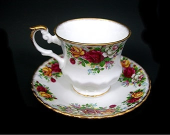 Royal Patrician Roses Tea Cup and Saucer - Fine Bone China - Made in England - Red and Yellow Roses with Gold Trim - Tea Parties