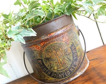 Like Watching Paint Dry... Antique Late 1800's Rubber Paint Co New York Metal Paint Can Planter Vase Ephemera Painting Bucket