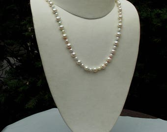 Cultured freshwater pearl LGBTQ necklace hand knotted on silk  18 1/2 inches