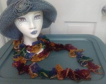 Crochet fashion Lace hand made scarf handmade Gold,maroon,green and blue