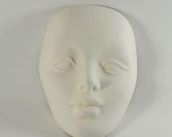 Pottery Face Ceramic Bisque Mask U Paint