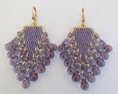 Beaded Fringe Earrings - Blue/Purple Luster