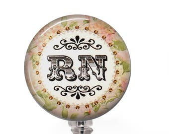 Nurse Badge Reel - RN Peach and Green ID Badge Holder - 343
