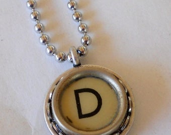 SALE Recycled jewelry, Initial Necklace, Typewriter Key Necklace,  Vintage, Initial Jewelry,  All Letters A-Z
