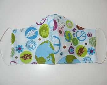Fabric Surgical Face Mask in Peaceful Planet