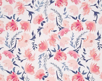 Blush Pink Coral & Navy Floral Baby Nursery Crib Bedding Set CHOOSE and CUSTOMIZE