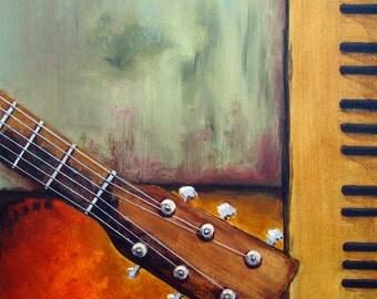 "6x6"" Giclee Print Guitar Art Martin DM Neck Music Instruments by RSalcedo FFAW Free Shipping"