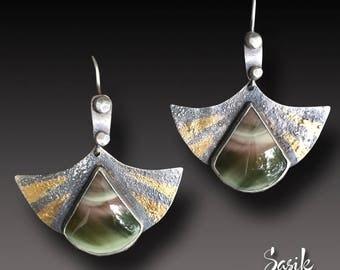 Silver Earrings Keum Boo  Sterling Silver 24 k Gold Earrings Dangle