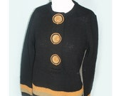 Vintage 1940's Black and Orange Knit Sweater