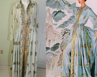 Vintage 50's Designer Traina Norell Metallic Embroidered Silk Gown with Pants