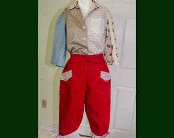 Rare Vintage 50's High Waisted Red Clamdigger Rockabilly Pants