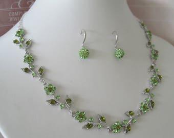 Bridal Jewelry - Bridal Accessories-Wedding Jewelry- Bridesmaids Jewerly set - Multi shades of green rhinestone jewelry set
