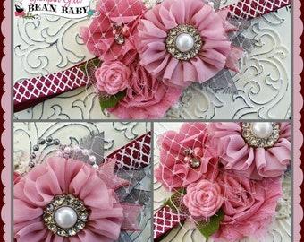 Custom Boutique Mauve, Grey, and Burgandy Glamour Bloom Hair Flower clip headband