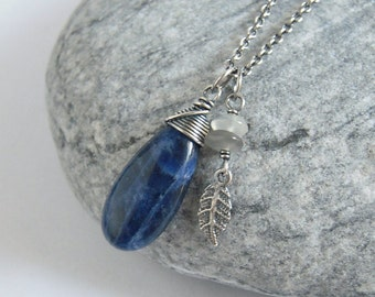 Sodalite Necklace, Moonstone Pendant, Silver Leaf Charm, Oxidized Sterling Silver