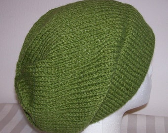 Wool/Acrylic Ski Hat - Slouchy Knit Beanie - Knitted Hipster Toque - Hand Knit Hat - Skater Beanie - Avocado Green
