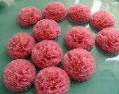 Tissue Paper Flowers Button Mums Pink Wedding, Bridal Shower, Baby Shower Decor,  Pink Wedding Flowers