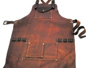 Leather Work Apron with Nail Pouch and Top Pocket