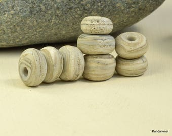 Sandy Stones - Pebbles - Lampwork Bead Set - Rustic - Boho - Organic - Nature Inspired