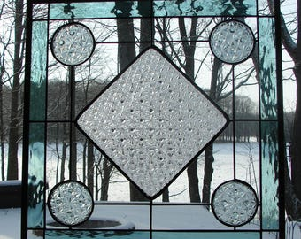 Daisy & Button plate stained glass panel pale green clear