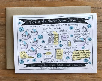 Nana's Snow Cream Illustrated Recipe A6 Greeting Card