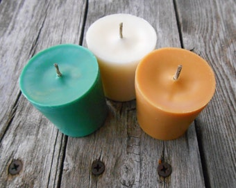 Christmas Scents-Soy Candles-Organic-Hemp Wick Soy Candles-Votives-Eggnog-Balsam Fir-Bourbon
