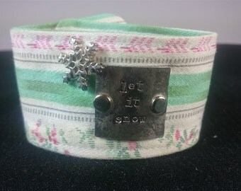 VIntage Cotton Fabric Cuff Bracelet with Hand Stamped Silver Plated Accent Let It Snow Hand Made Original
