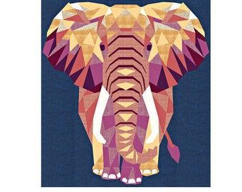 """Robert Kaufman ELEPHANT ABSTRACTIONS Fabric Quilt Kit 54"""" x 60"""" By Violet Craft KITP-1733-14"""