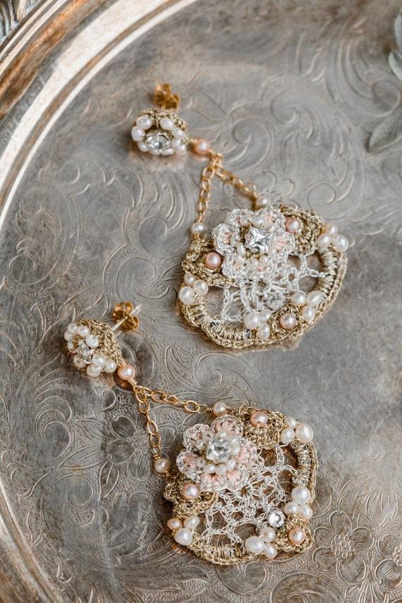 Chandelier Wedding Earrings   Gold Bridal Earrings   Blush Earrings   Pearl Wedding Earrings   Pearl Bridal Earrings   Statement Earrings