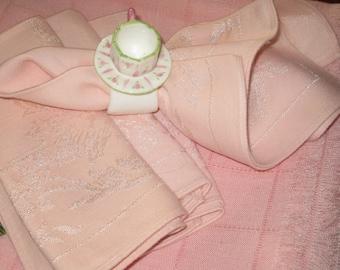 Four Pink Damask Vintage Dinner/Luncheon Napkins