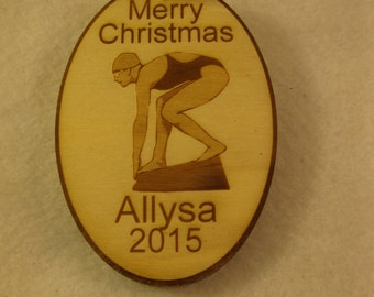 Personalized wooden christmas female swimmer ornament tag