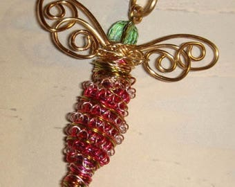 My #10736 -Mini-Fuchsia/Copper/Gold Mix Dragonfly Pendant/Ornament  (with crystal beads ext.) size around: 2x2