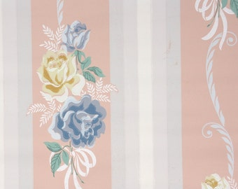 1940s Vintage Wallpaper by the Yard - Blue and Yellow Rose Stripe