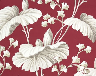 1930s Vintage Wallpaper by the Yard -  Large White Leaves on Burgundy Vintage Wallpaper