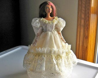 ON SALE Ivory Lace Barbie Dress with Pearl Trim