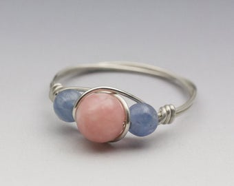 Peruvian Pink Opal & Blue Kyanite Sterling Silver Wire Wrapped Bead Ring - Made to Order, Ships Fast!
